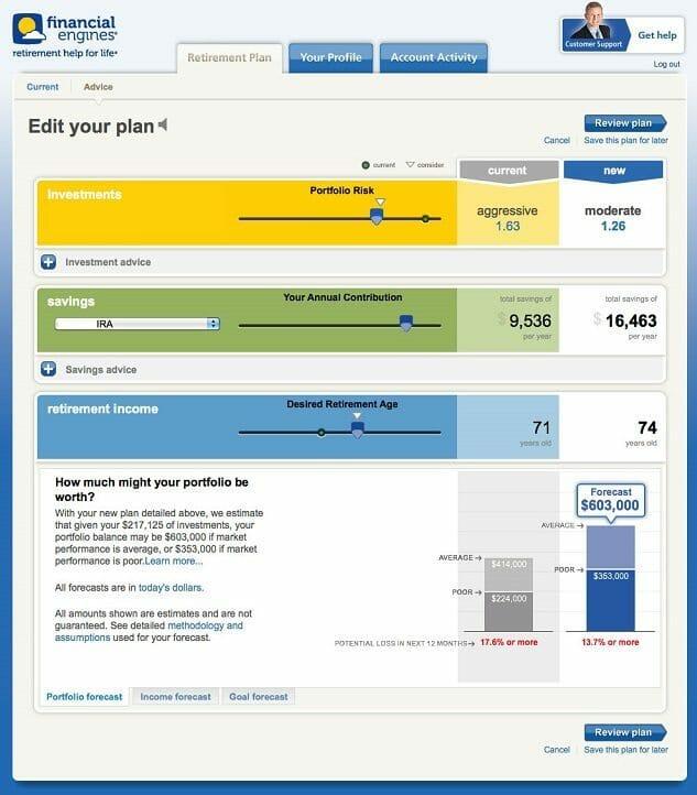 financial engines screenshot