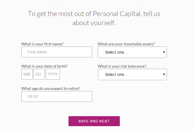 Personal Capital - Sign Up