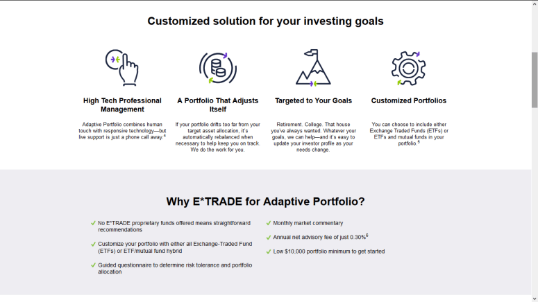 E*TRADE Adaptive Portfolio Customized Solution