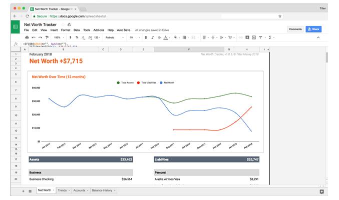 Tiller Money - Net Worth Tracker